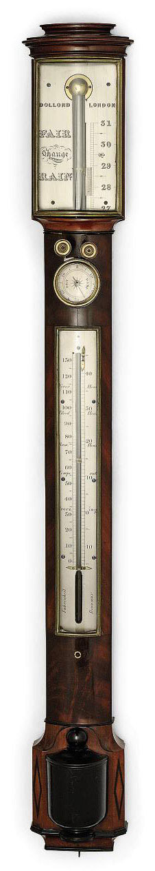 A GEORGE IV MAHOGANY AND BRASS-MOUNTED STICK BAROMETER