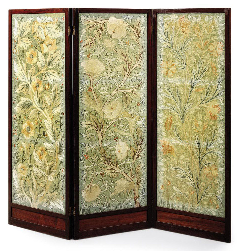 A MORRIS & CO MAHOGANY AND EMBROIDERED THREE-FOLD SCREEN DESIGNED BY JOHN HENRY DEARLE