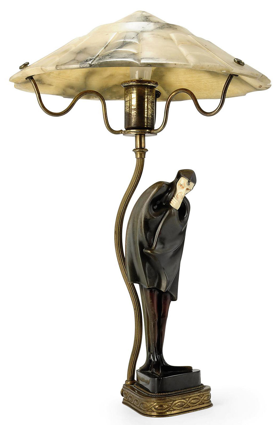 'MEPHISTOPHELES' A COLD-PAINTED BRONZE AND IVORY FIGURE BY ROLAND PARIS MOUNTED AS A LAMP WITH ALABASTER SHADE
