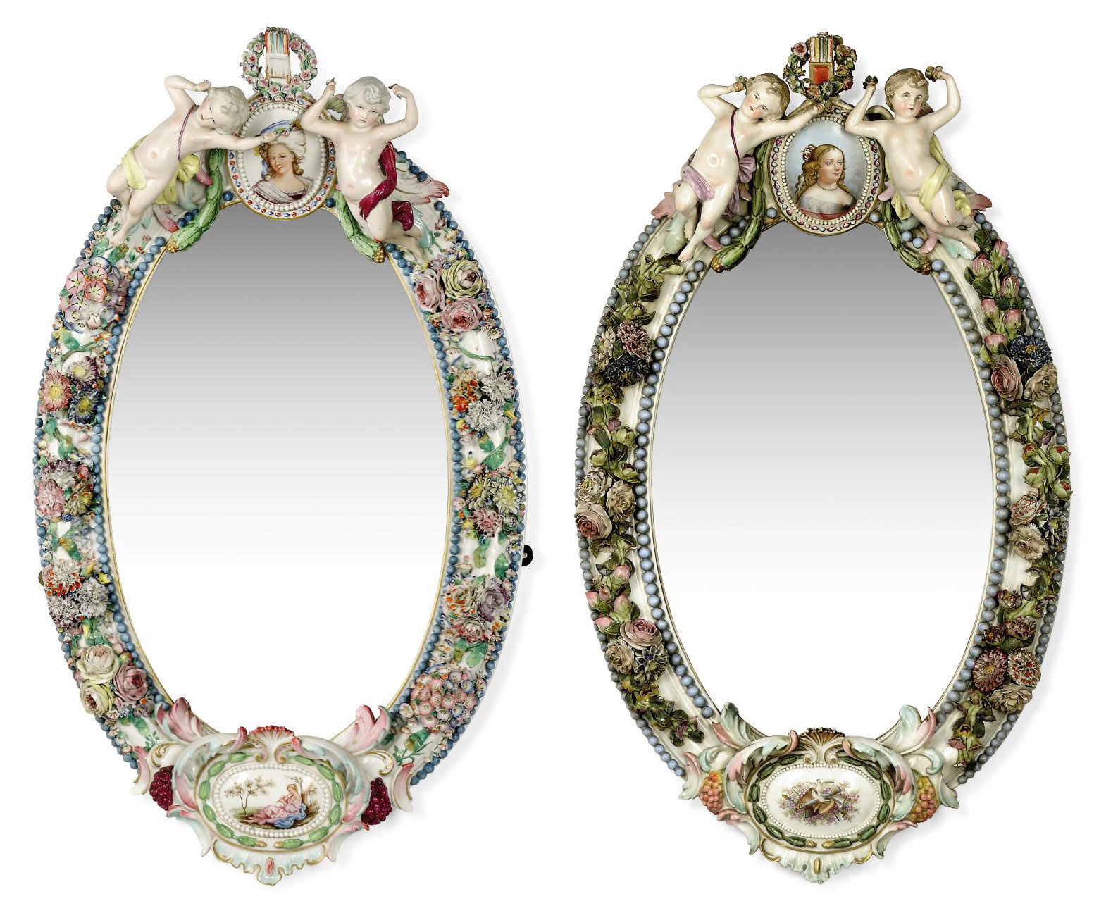 TWO MEISSEN-STYLE OVAL MIRROR FRAMES