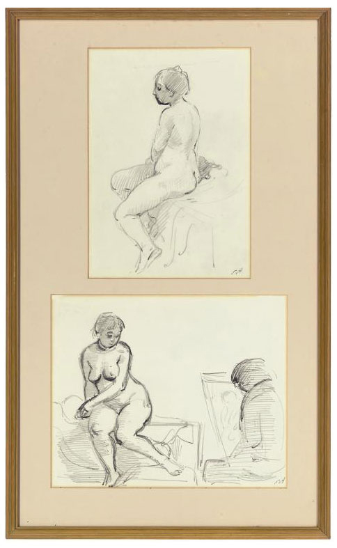 Two studies of a life class