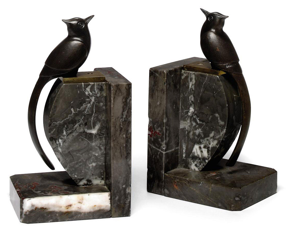 A PAIR OF COLD-PAINTED BRONZE 'LONG-TAILED BIRD' BOOKENDS BY KELETY