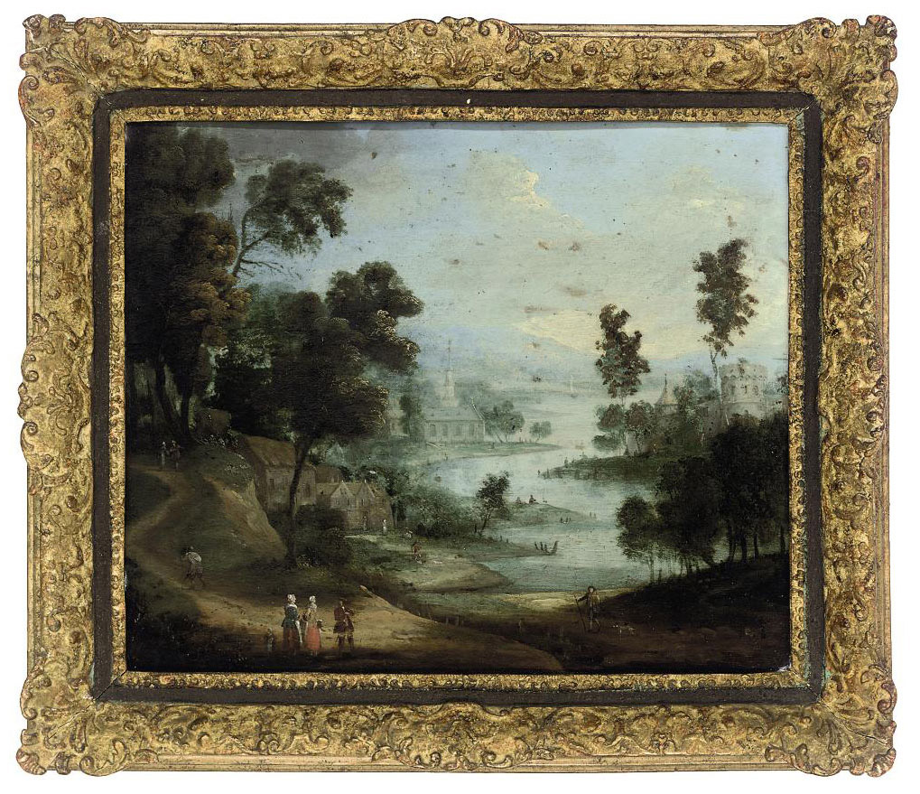 An extensive river landscape with figures on a track