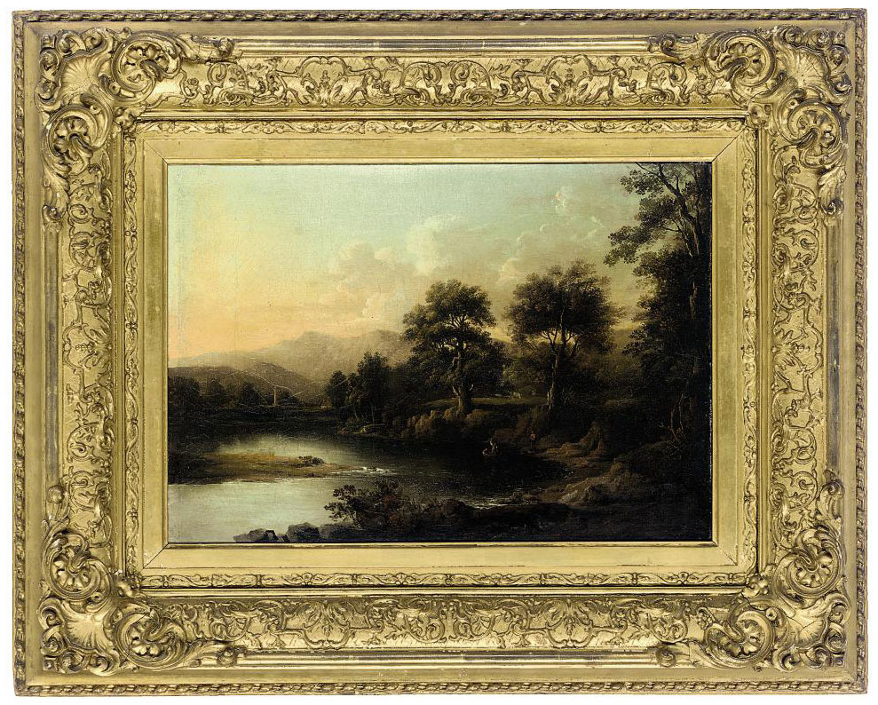 A wooded river landscape with figures