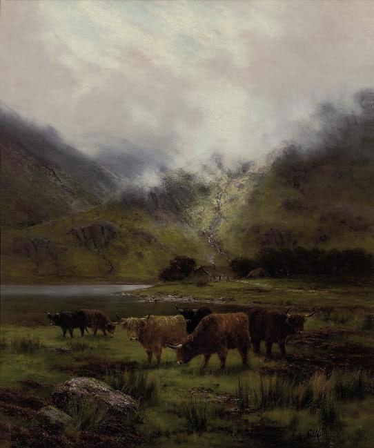 Cattle grazing before a loch, a cottage beyond