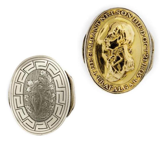 HORATIO, VISCOUNT NELSON INTEREST:- A GEORGE III SILVER COMMEMORATIVE VINAIGRETTE