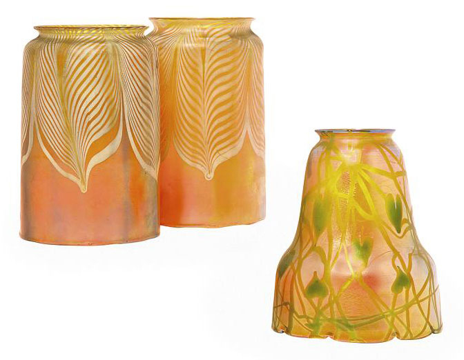 A QUEZAL IRIDESCENT GLASS 'IVY' SHADE AND TWO CYLINDIRCAL GLASS SHADES