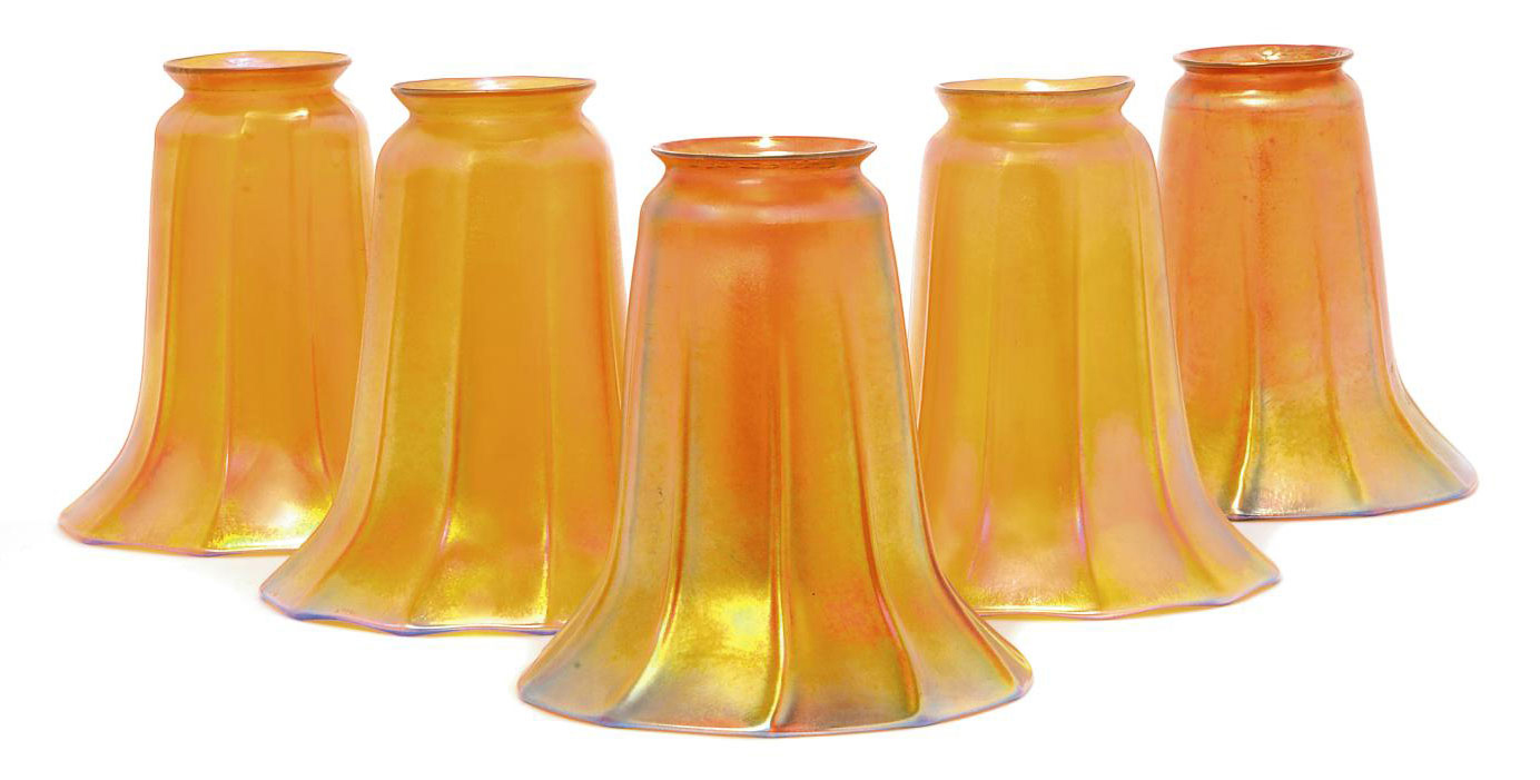 A MATCHED SET OF FIVE IRIDESCENT GLASS SHADES