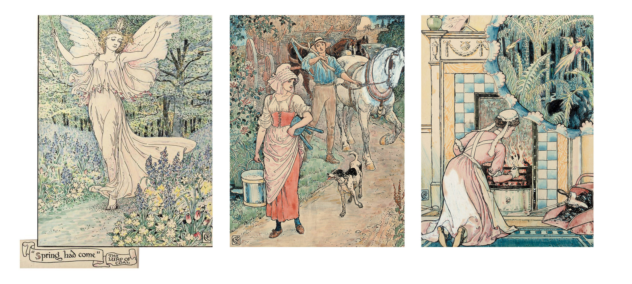 Three illustrations for Arthur Kelly's The Rosebud and Other Tales - 'The Lump of Coal'