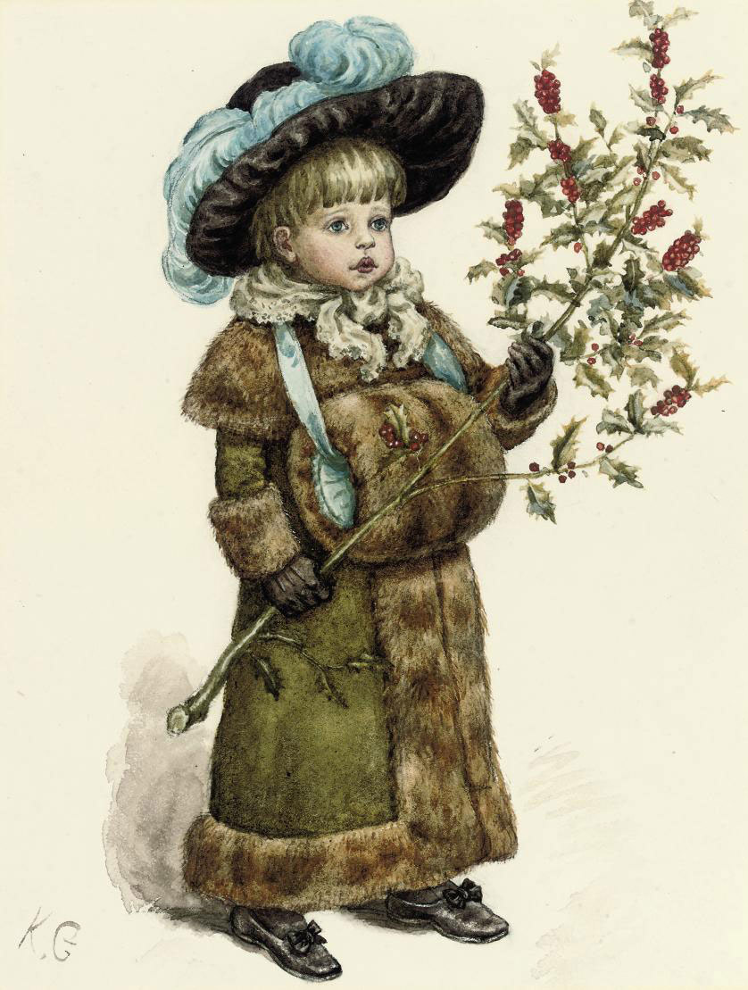 A young girl dressed up for Christmas, wearing a fur coat and muff and carrying a holly branch
