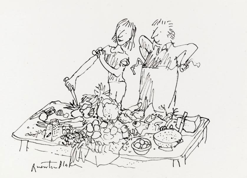 'Food Preparation': a preliminary drawing for The David Mellor Kitchen Guide
