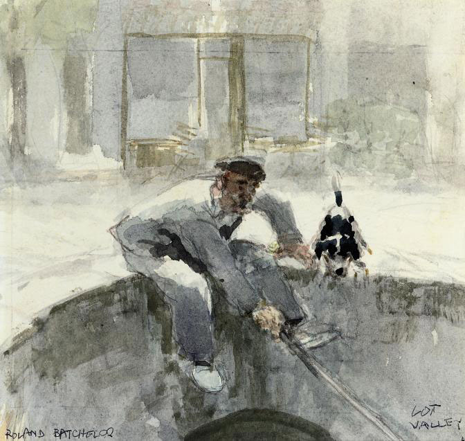 A man and his dog fishing from a bridge