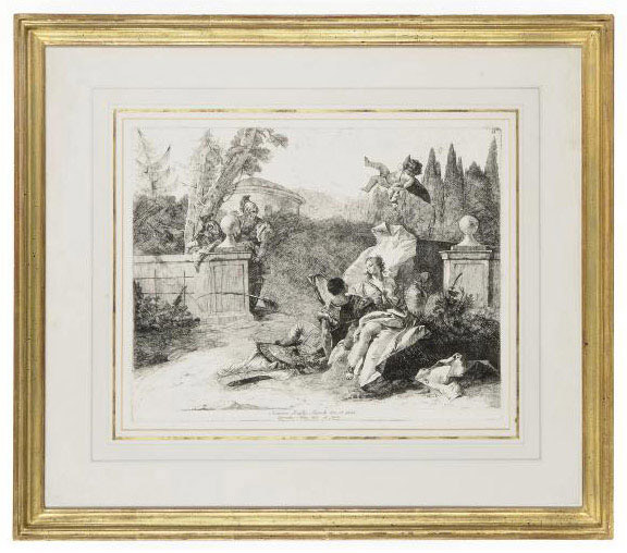 Armida and Rinaldo seated in a garden, with Cupid appearing above them