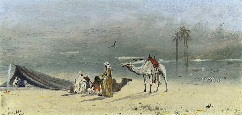 An Arab encampment; and Gathering water from the Nile before the Pyramids at Geza