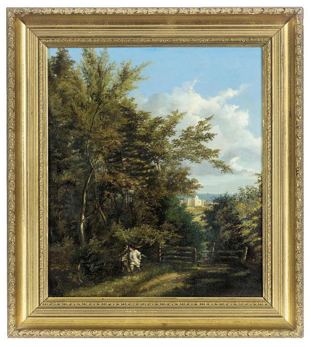 Two boys on a wooded track, a town beyond