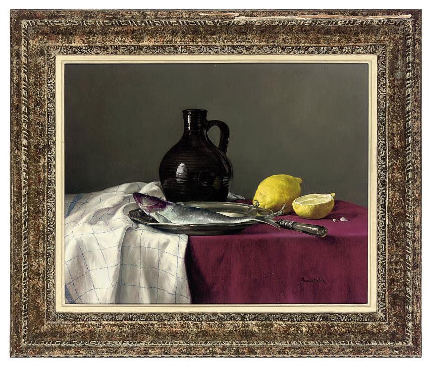 A flagon, fish and lemons