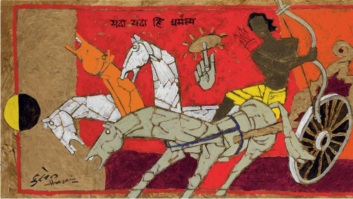 maqbool fida husain and his best Modern indian painting  topics: india, art, raja ravi varma.
