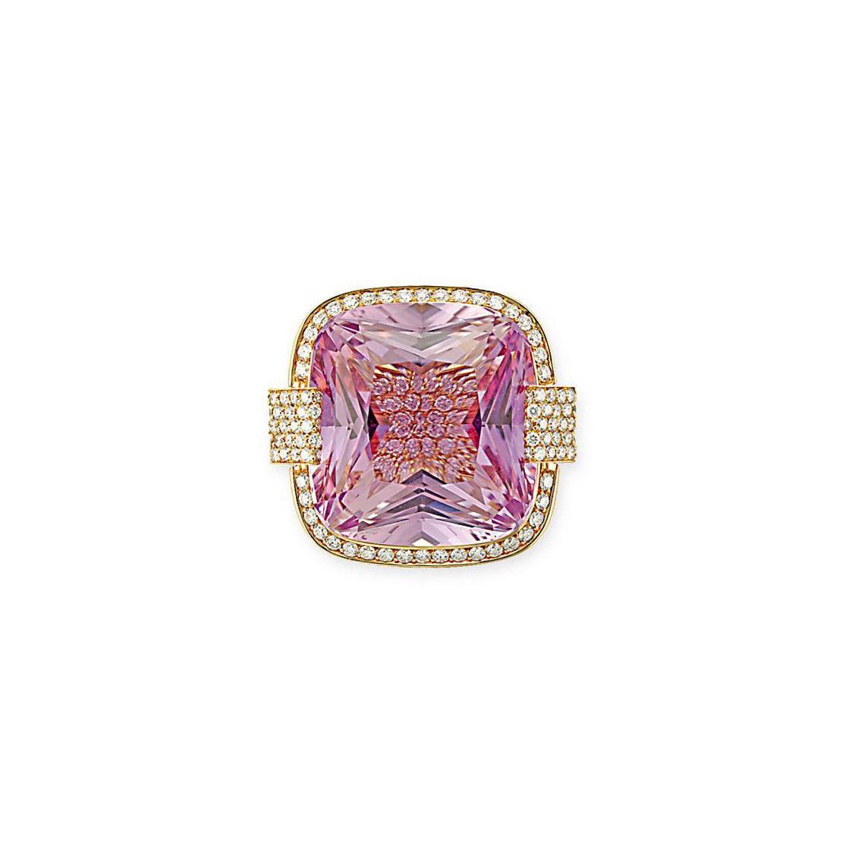AN IMPRESSIVE KUNZITE AND DIAMOND RING, BY MARGHERITA BURGENER