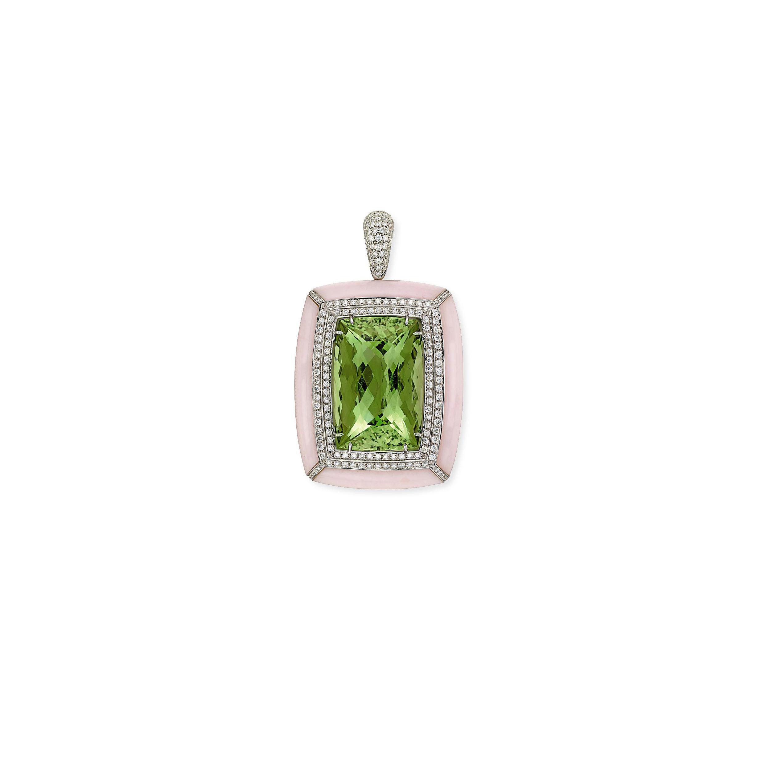 A DIAMOND, BERYL AND OPAL PENDANT, BY MARGHARITA BURGENER