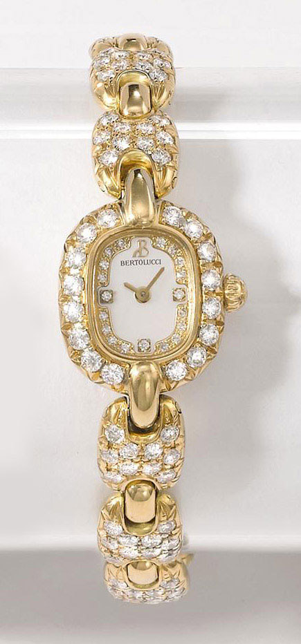 BERTOLUCCI, PULCHRA  LADY'S YELLOW GOLD AND DIAMOND-SET QUARTZ BRACELET WATCH WITH MOTHER-OF-PEARL DIAL