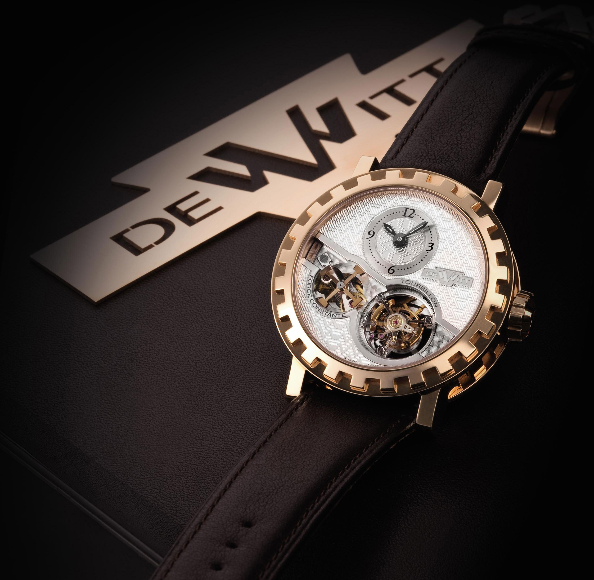 DEWITT, ACADEMIA TOURBILLON FORCE CONSTANTE  PINK GOLD MANUALLY-WOUND TOURBILLON WRISTWATCH WITH CONSTANT FORCE DEVICE, PIECE UNIQUE