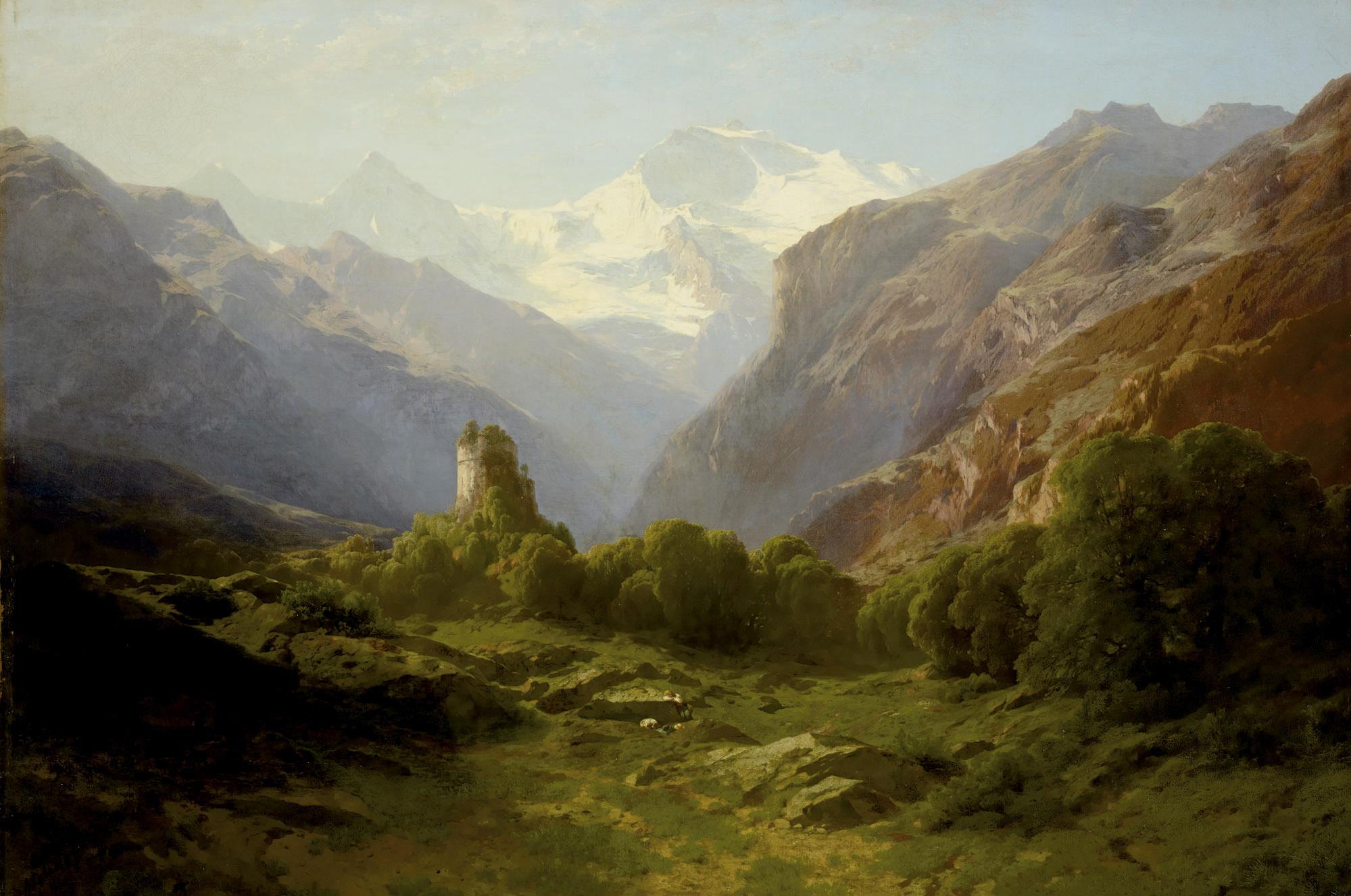 Ruine Unspunnen vor dem Blick auf Eiger, Mönch und Jungfrau, 1860