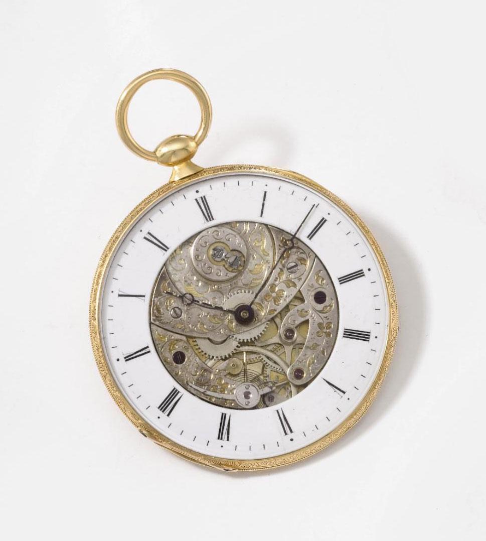 Lebet & Fils. A rare ultra slim 18K gold openface partly skeletonized cylinder watch with Bagnolet calibre