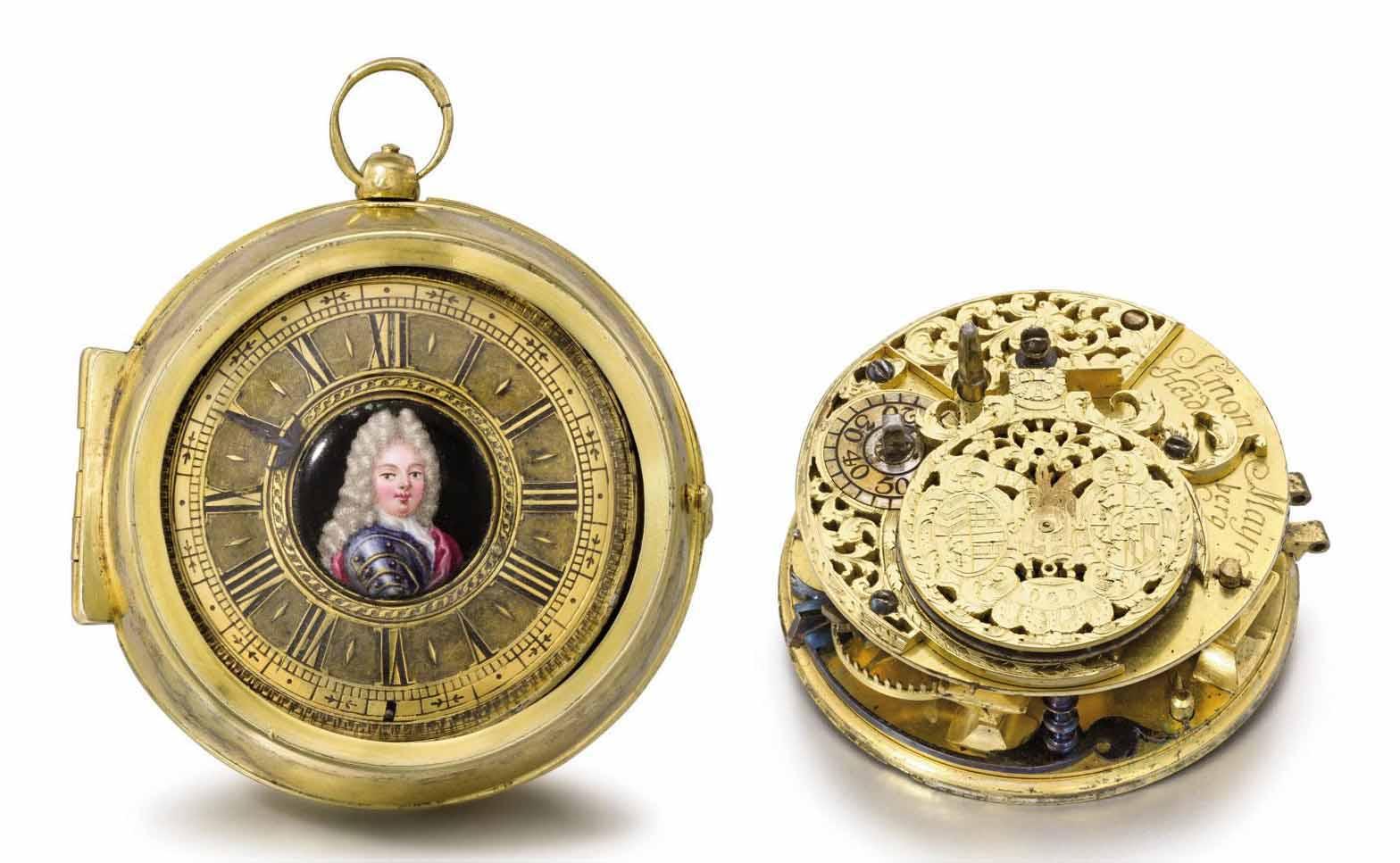 Simon Maÿr. A very fine and rare gilt brass pair case openface presentation verge watch with the enamel portrait of the Elector Palatine Johann Wilhelm von Pfalz-Neuburg