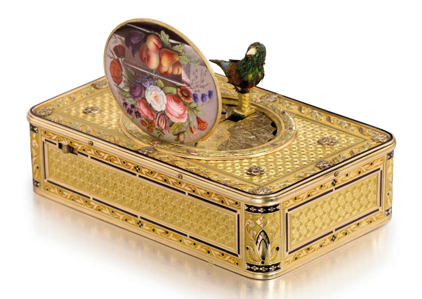 Frères Rochat and Jean-Georges Rémond. An extremely fine and rare 18K vari-colour gold and enamel musical singing bird box with centre seconds watch, made for the Chinese market