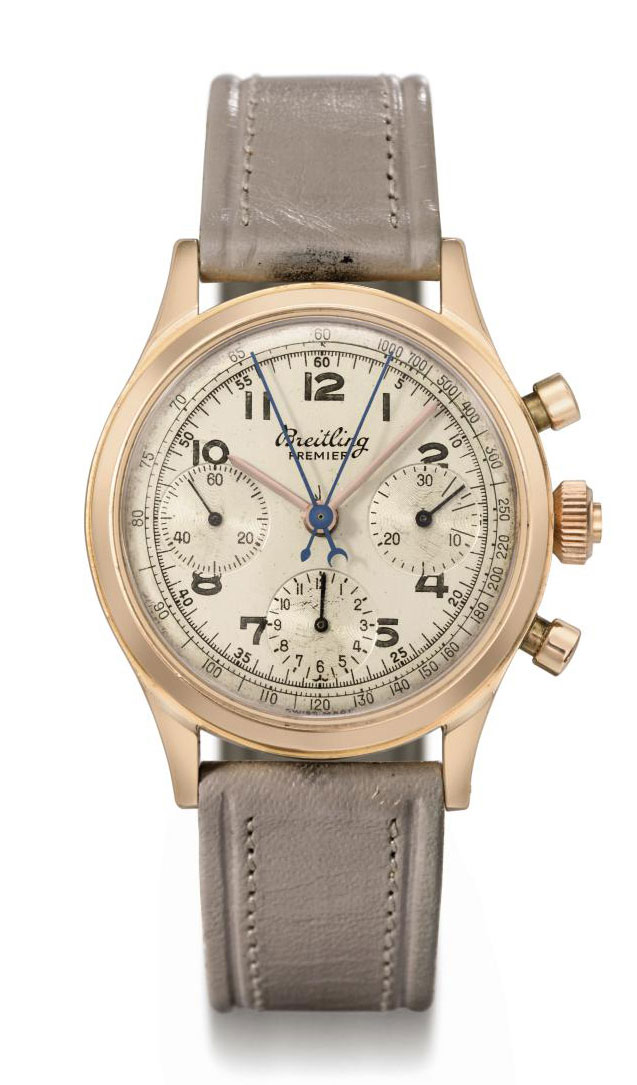Breitling. A fine and rare 18K pink gold split seconds chronograph wristwatch with two-tone silvered dial and registers
