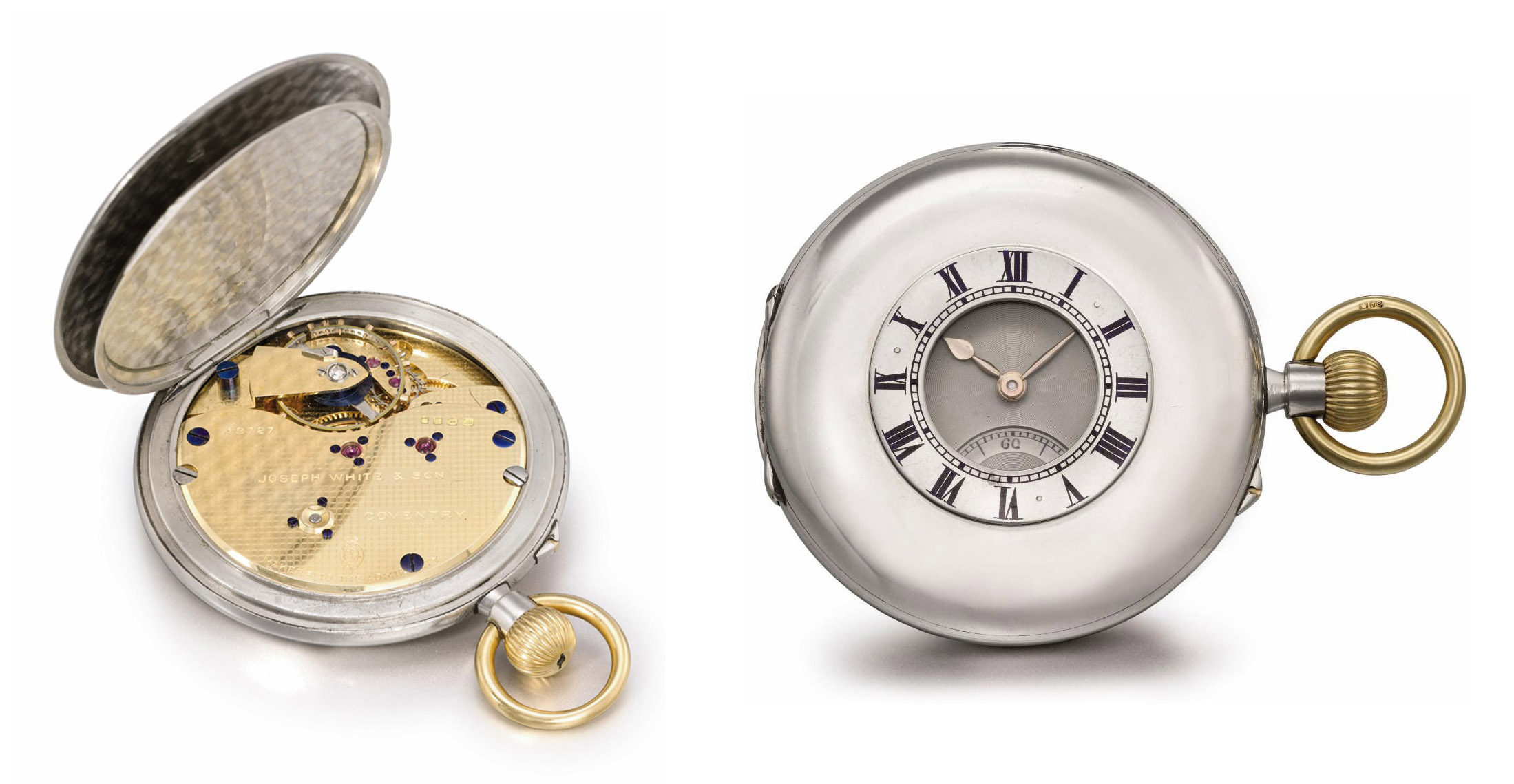 Joseph White. A rare and unusual platinum and gold half hunter case keyless lever watch with 18K yellow gold movement