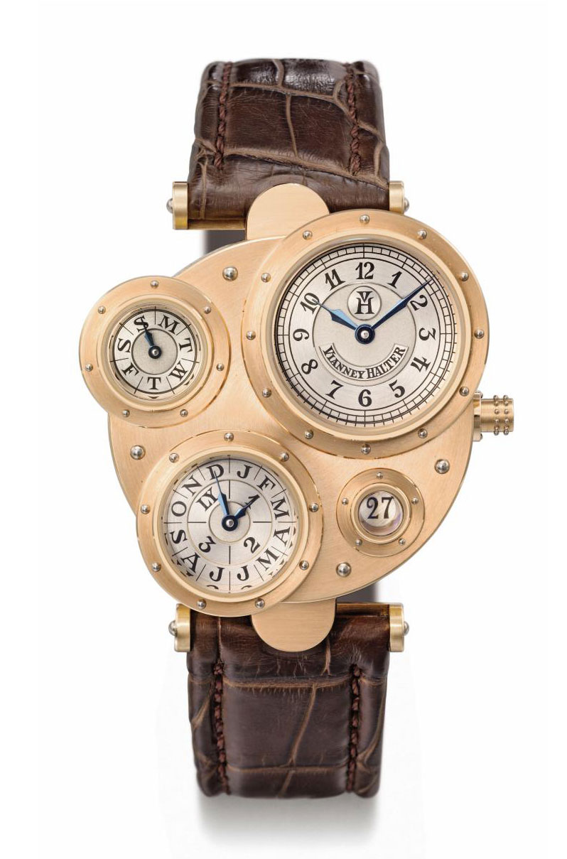 Vianney Halter. A very fine, rare and unusual 18K pink gold asymmetrical automatic perpetual calendar wristwatch