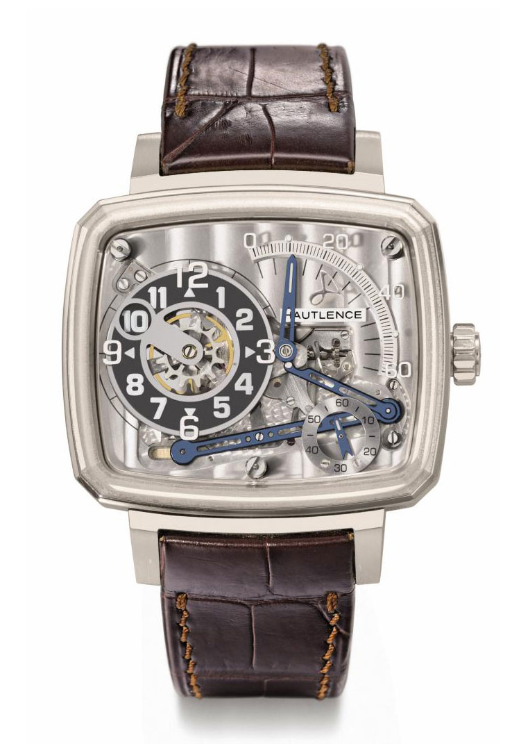 Hautlence. A large, rare and unusual 18K white gold limited edition cushion-shaped skeletonized jump hour wristwatch with retrograde minutes