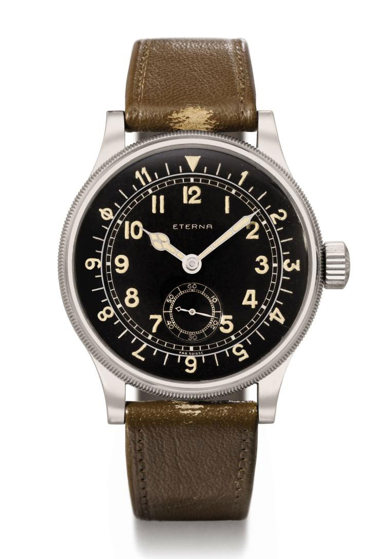 Eterna. A large and attractive stainless steel military wristwatch with black dial