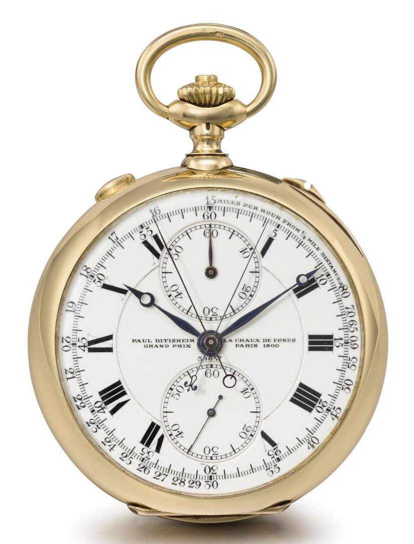 Paul Ditisheim. A fine 18K gold openface keyless lever split seconds chronograph watch with Guillaume balance
