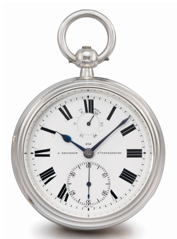Victor Kullberg, made for A. Ericsson. A large silver openface keywound pocket chronometer with power reserve