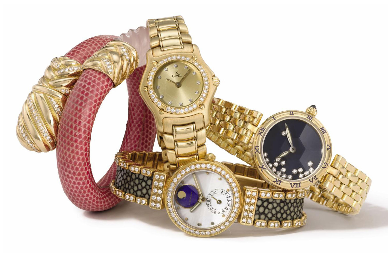 Barthelay, Corum, Gerald Genta, Ebel. A lot of five lady's 18K gold and diamond-set wristwatches