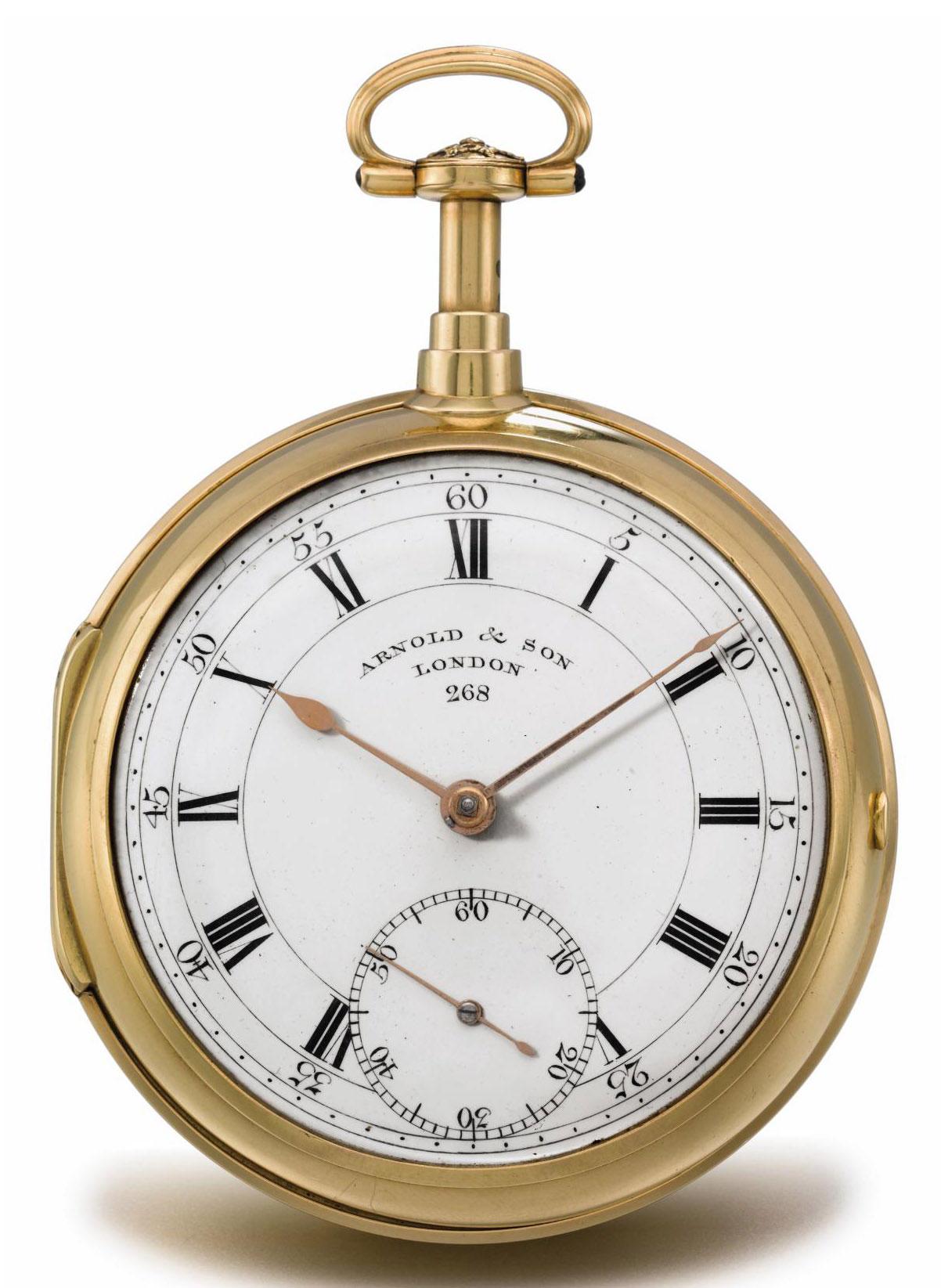Arnold. A very fine and rare 18K gold openface half quarter repeating pocket chronometer