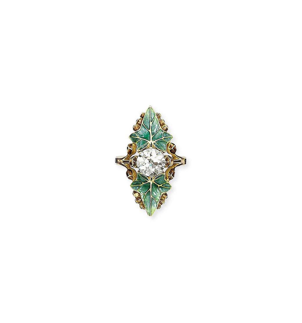 AN ART NOUVEAU DIAMOND AND ENAMEL RING, BY LUCIEN GAILLARD