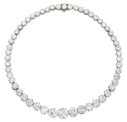 AN ANTIQUE DIAMOND RIVIERE, BY