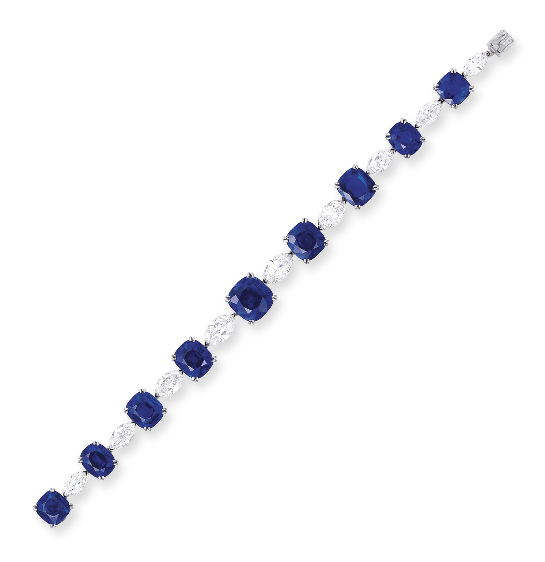 AN EXQUISITE SAPPHIRE AND DIAMOND BRACELET, BY CARTIER