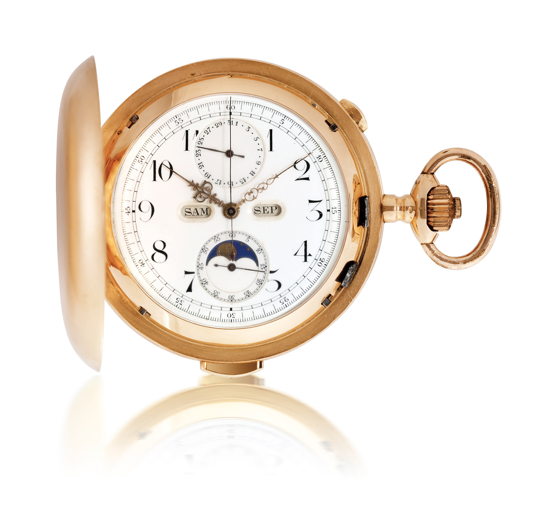 VOLTA  YELLOW GOLD MINUTE REPEATING TRIPLE CALENDAR CHRONOGRAPH HUNTER CASE KEYLESS LEVER POCKET WATCH WITH MOON PHASES