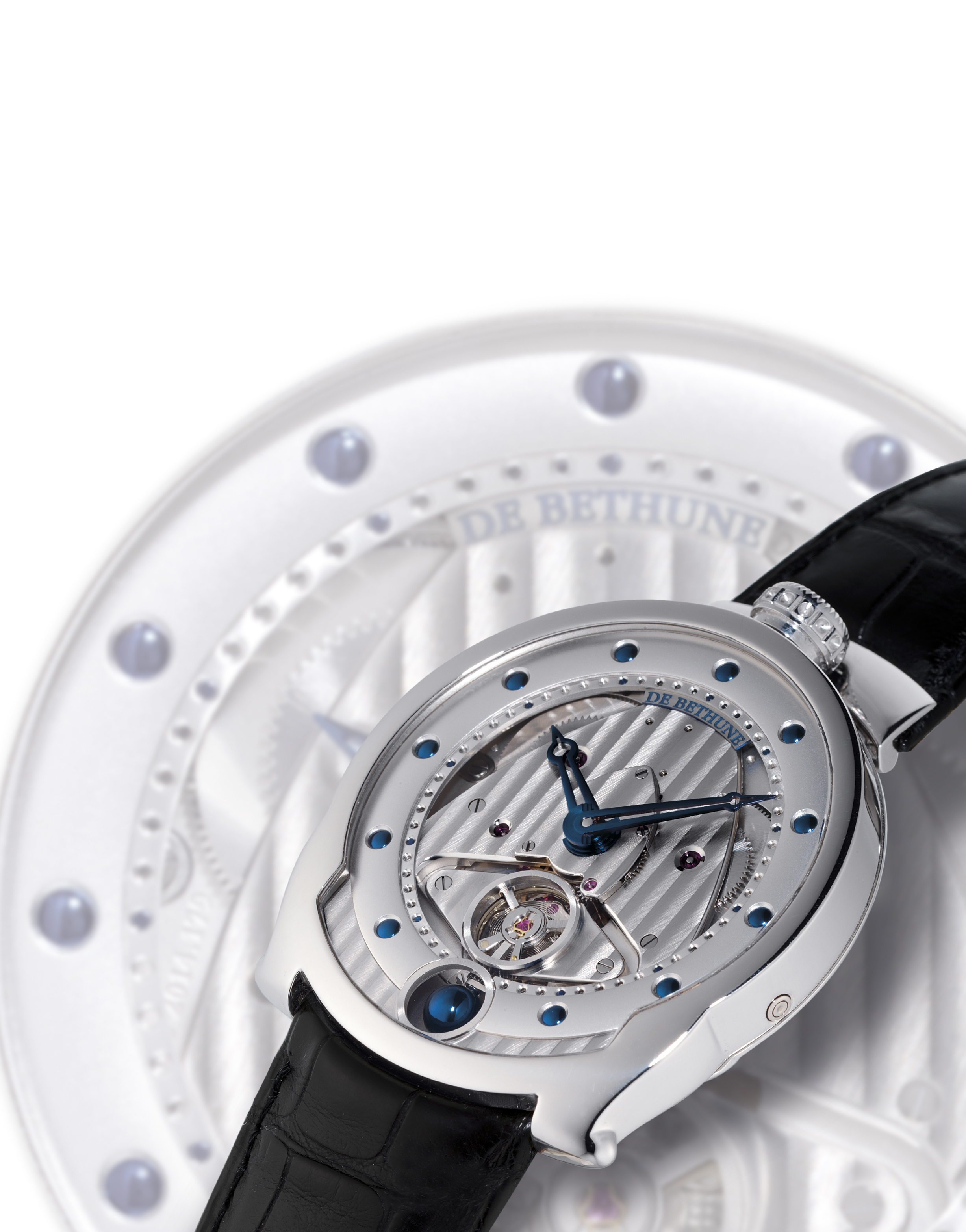 DE BETHUNE, THE PLATINUM DBS-P  PLATINUM MANUALLY-WOUND WRISTWATCH WITH POWER RESERVE INDICATION AND THREE-DIMENSIONAL MOON PHASE DISPLAY