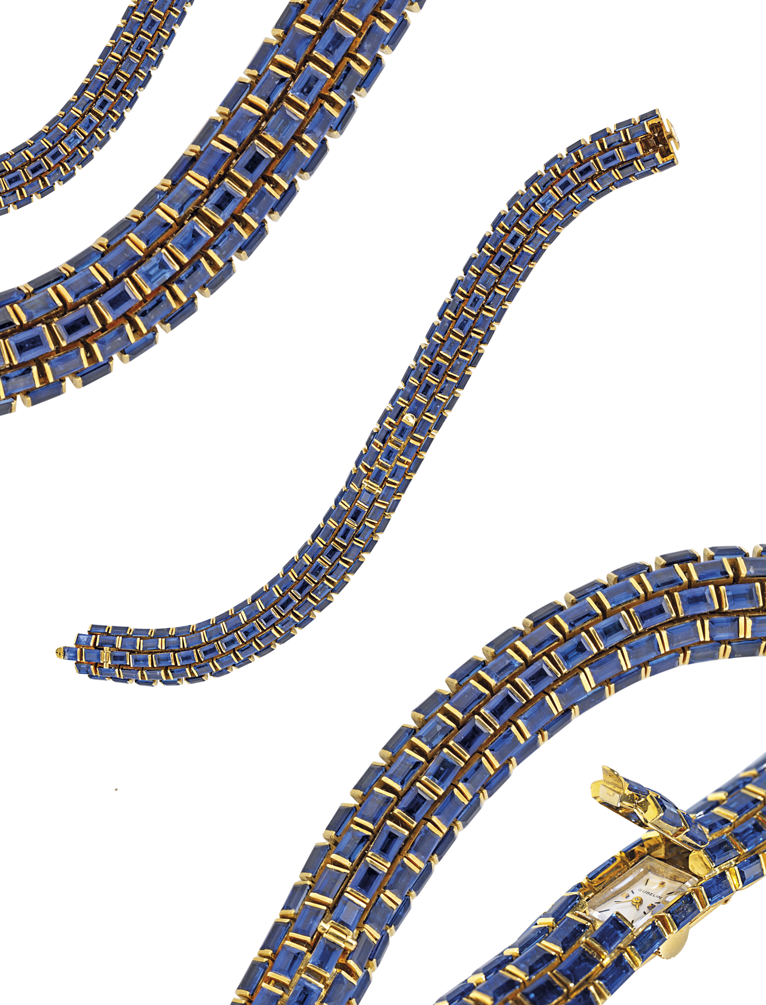 GÜBELIN  LADY'S YELLOW GOLD MANUALLY-WOUND BRACELET WATCH WITH CONCEALED DIAL, ENTIRELY SET WITH 175 BAGUETTE-CUT SAPPHIRE WEIGHING APPROXIMATELY 28 CTS.