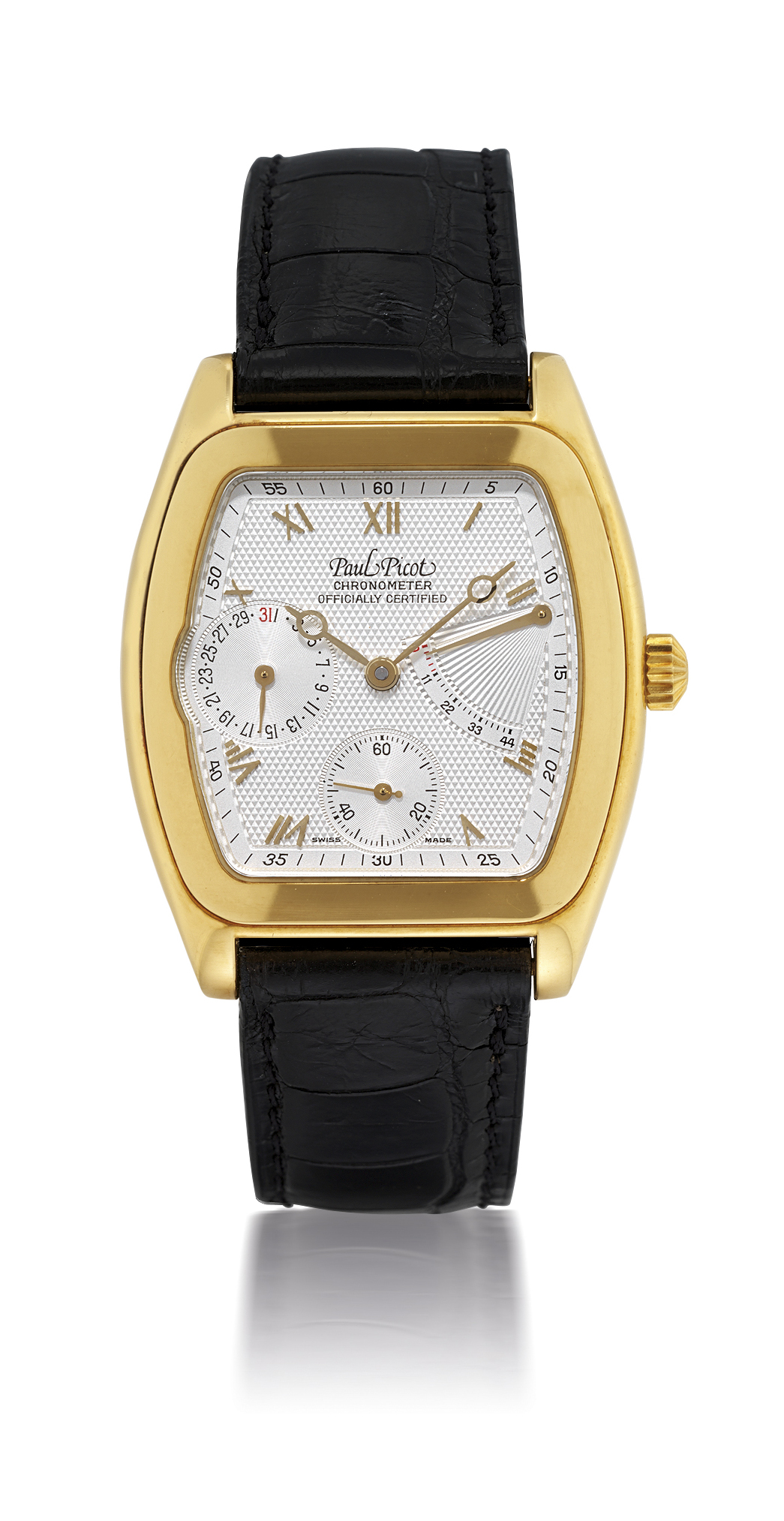 PAUL PICOT, FIRSHIRE  YELLOW GOLD AUTOMATIC WRISTWATCH WITH POWER RESERVE AND DATE DISPLAY