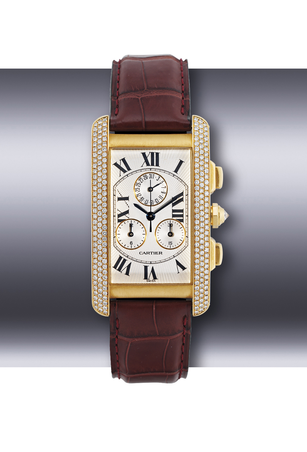 CARTIER, TANK AMERICAINE  YELLOW GOLD AND DIAMOND-SET QUARTZ CHRONOGRAPH WRISTWATCH WITH DATE DISPLAY