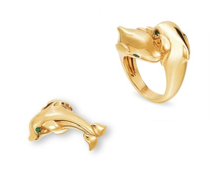 A SET OF GOLD AND EMERALD DOLPHIN JEWELLERY BY CARTIER