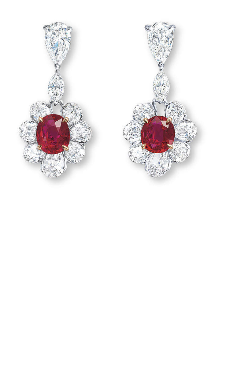A STUNNING PAIR OF RUBY AND DIAMOND EAR PENDANTS, BY ETCETERA