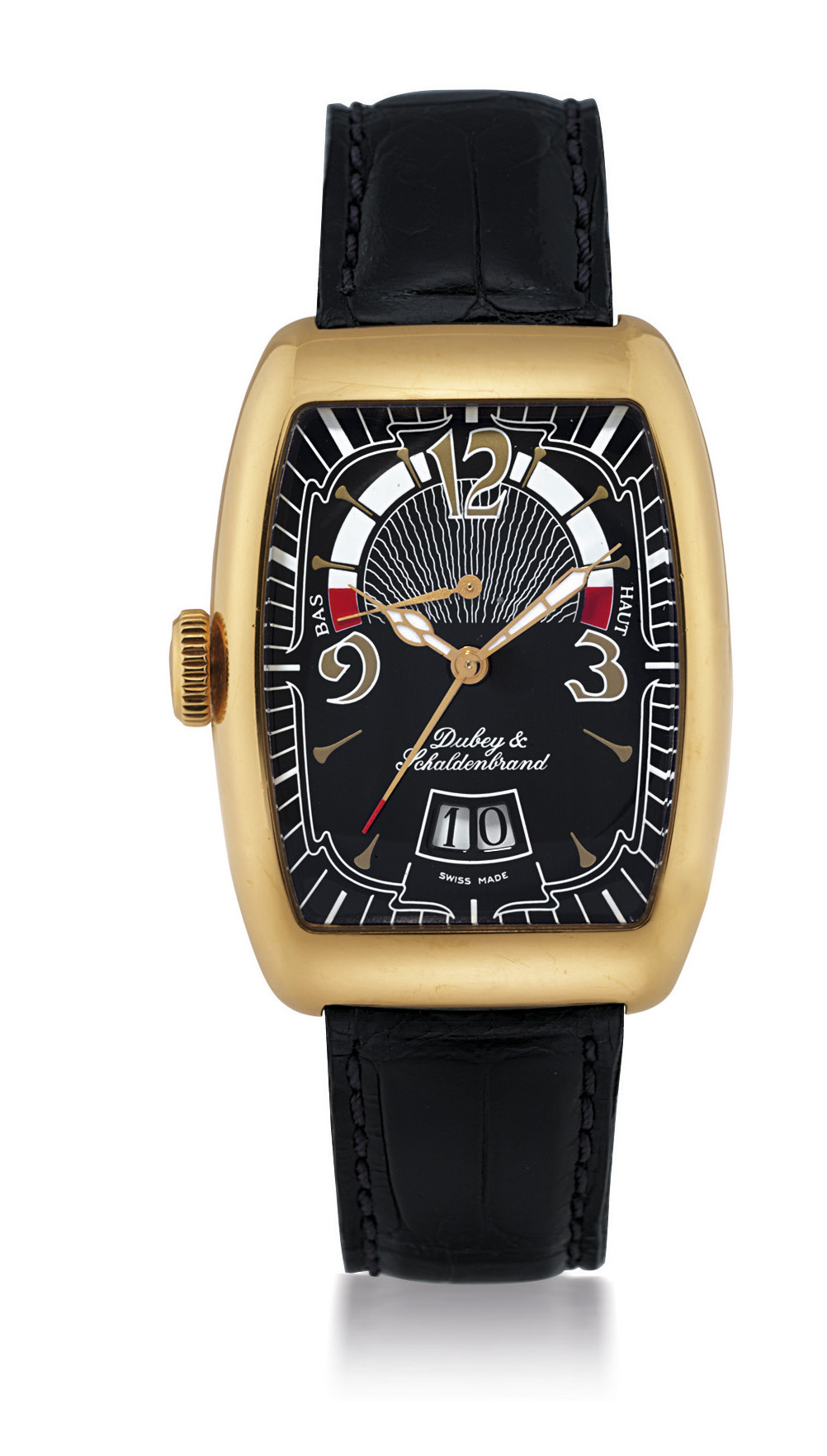 DUBEY & SCHALDENBRAND, VINTAGE CAPRICE  YELLOW GOLD AUTOMATIC LEFT-HANDED AUTOMATIC WRISTWATCH WITH DATE DISPLAY AND POWER RESERVE INDICATION, LIMITED EDITION OF 200
