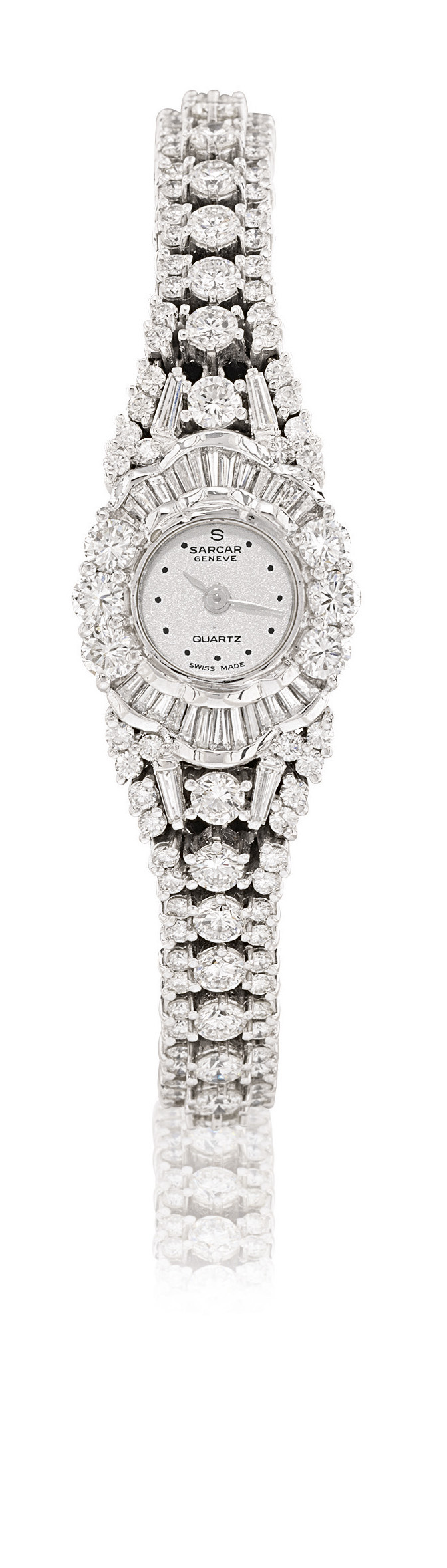 SARCAR  LADY'S WHITE GOLD AND DIAMOND-SET QUARTZ BRACELET WATCH